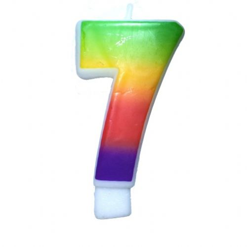 Rainbow-Colored Numeral #7 Candle